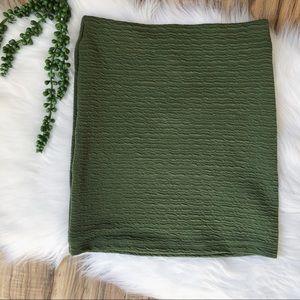 Topshop Pull On Textured Mini Skirt in Khaki Green